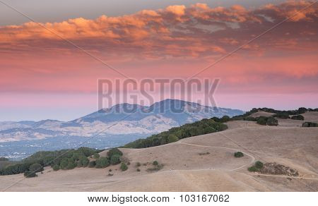 Sunset Over Mount Diablo From Briones Regional Park, Martinez, Ca