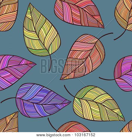 Hand Drawn Vector Seamless Pattern With Leaves