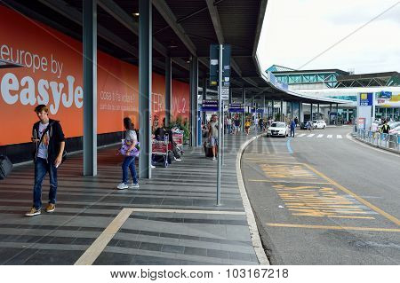 ROME, ITALY - AUGUST 16, 2015: Fiumicino Airport terminal outdoor. Fiumicino - Leonardo da Vinci International Airport is a major international airport in Rome, Italy
