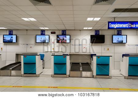 NICE, FRANCE - AUGUST 15, 2015: Nice International Airport interior. It is located 5.9 km southwest of Nice, in the Alpes-Maritimes department of France. It is the third busiest airport in France.