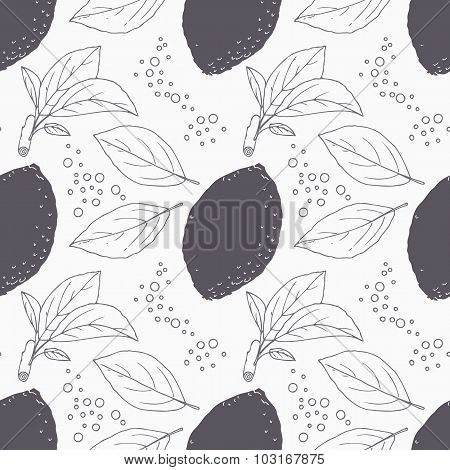 Stylized Seamless Pattern With Hand Drawn Lemon, Leaves And Bubbles