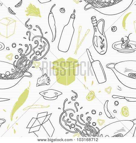 Stylized Seamless Pattern With Hand Drawn Wok Restaurant Elements. Hipster Background