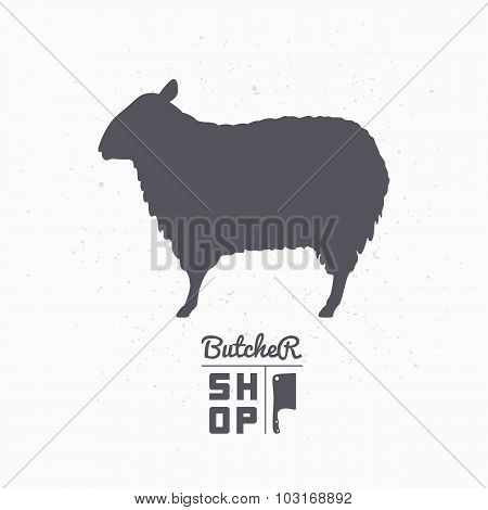 Sheep Silhouette. Lamb Meat. Butcher Shop Logo Template