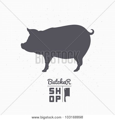 Pig Silhouette. Pork Meat. Butcher Shop Logo Template
