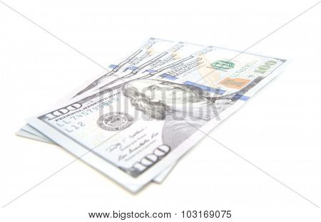 Three hundred dollar notes. All on white background