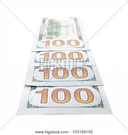 Four hundred dollar notes. All on white background