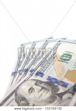 Four hundred dollar notes. All on white background.