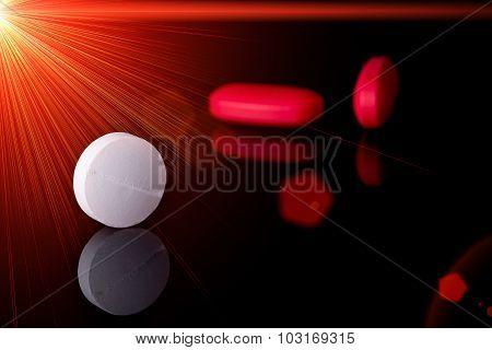 Pills On Black Background