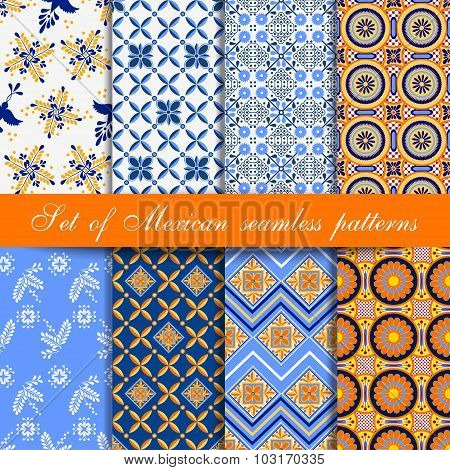 Set of mexican seamless patterns