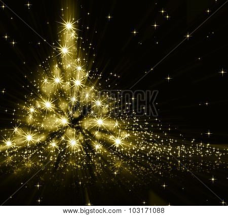 Christmas gold tree, beautiful snowflakes and shining stars