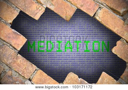 Hole In Brick Wall With Mediation Word