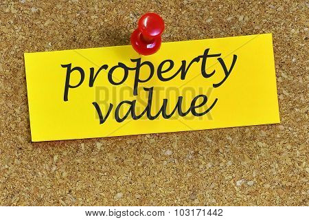 Property Value Word On Notepaper With Cork Background