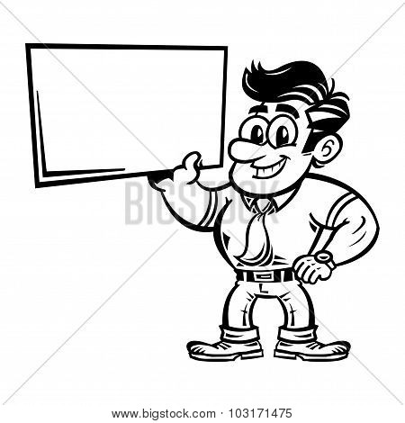 Cartoon businessman holding an empty sign