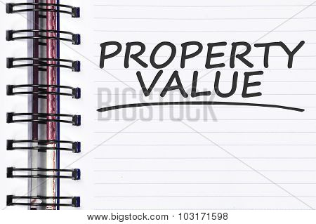 Property Value Words On Spring Note Book