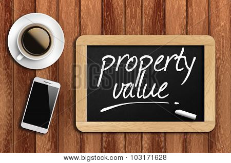 Coffee, Phone And Chalkboard With Property Value Words