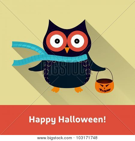 Happy Halloween Owl with Pumpkin Vector Illustration | EPS10 Design