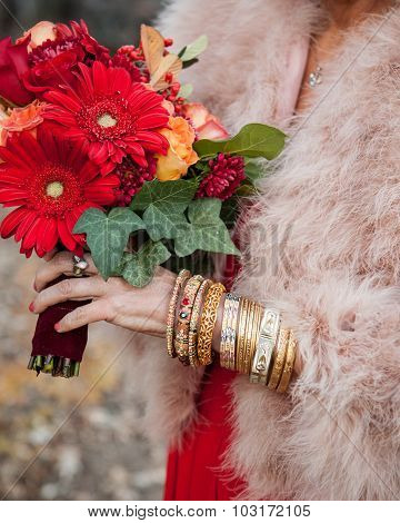 indian bridal attire with bright red colors