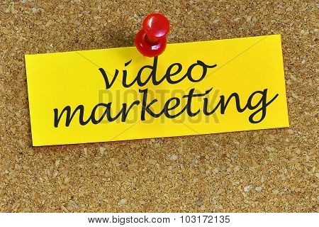 Video Marketing Word On Notepaper With Cork Background