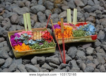 Symbolic Daily Hindu Offerings In Bali Indonesia.