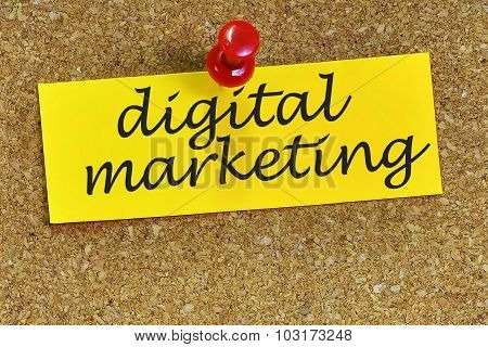 Digital Marketing Word On Notepaper With Cork Background