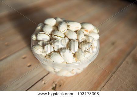 Pistachio seed put on the wood floor