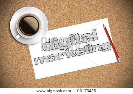 Coffee And Pencil Sketch Digital Marketing On Paper