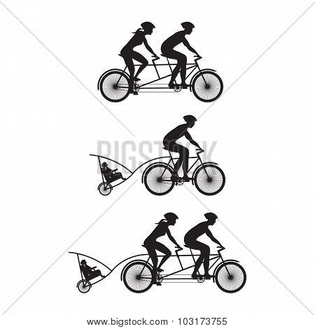 Silhouette Of Family On Bicycles. Bicycle And Tandem-bicycle.