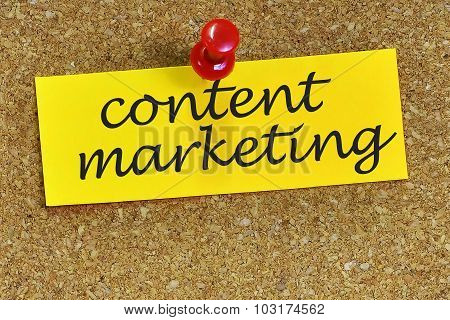 Content Marketing Word On Notepaper With Cork Background