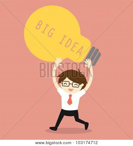 Business concept, Businessman holding bulb light with the word big idea. Vector illustration.