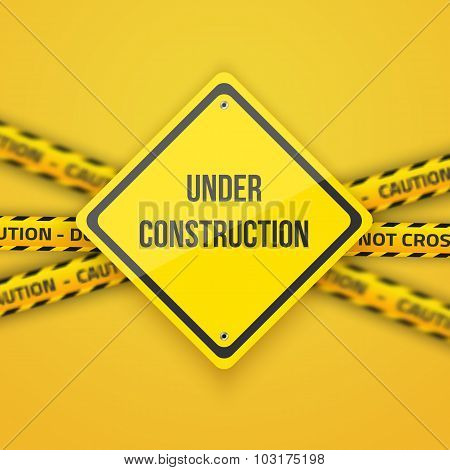 Under Construction Vector Background with Yellow Police Lice