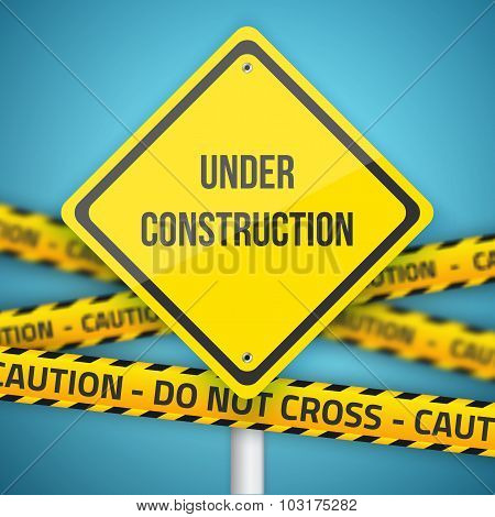 Photorealistic Website Under Construction Vector Sign with Polic