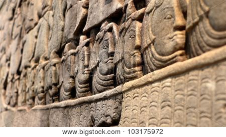 Stone Faces Of Khmer Army