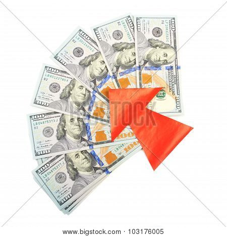 Hundred-dollar bills and a red arrow