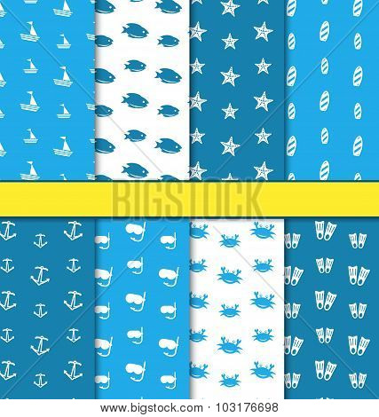 Set Seamless blue Pattern with Nautical Elements