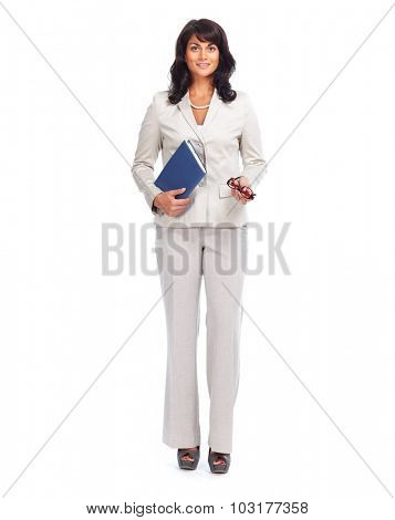 Beautiful young business woman. Isolated over white background.