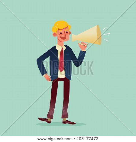 Businessman Speaking Through Megaphone