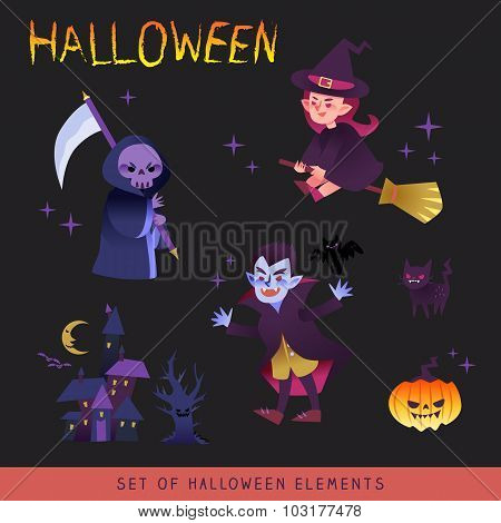 Halloween Characters Design Cartoon Illustration