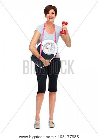Healthy elderly lady with dumbbell. Sport and exercise concept.