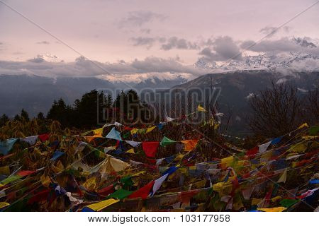 View Of The Prayer Flag And Annapurna Range In Poon Hill, Nepal