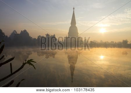 Sharp Gold Pagoda With Sunrise