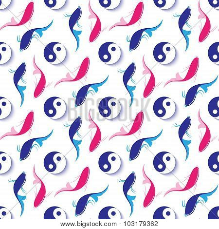 Seamless Pattern  With A Fish And A Sign Of Yin-yang.