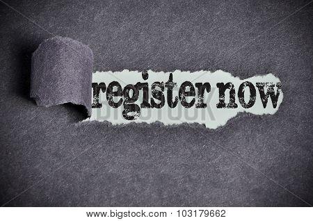 Register Now Word Under Torn Black Sugar Paper