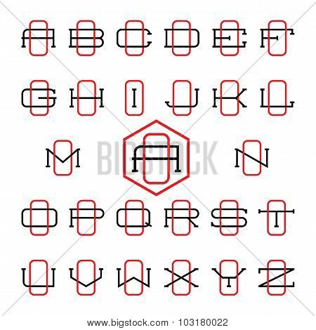 College sport team logo set. Two thin letters monogram template. Personal O identity design. Wedding