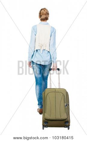 back view of walking  woman  with suitcase. beautiful girl in motion.  backside view of person.  Rear view people collection. Isolated over white background.