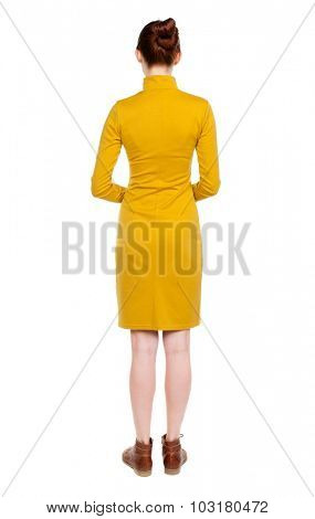 back view of standing young beautiful  woman.  girl  watching. Rear view people collection.  backside view of person.  Isolated over white background.