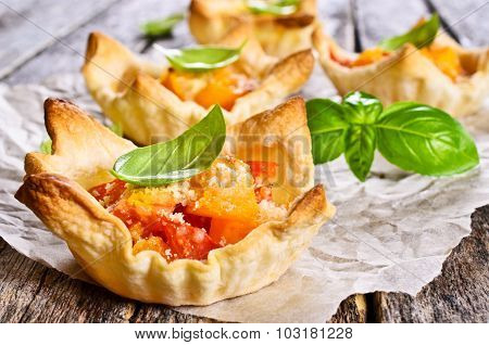 Tart With Tomatoes, Cheese And Basil