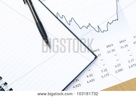 Workplace With Pen, Notebook, Financial Report