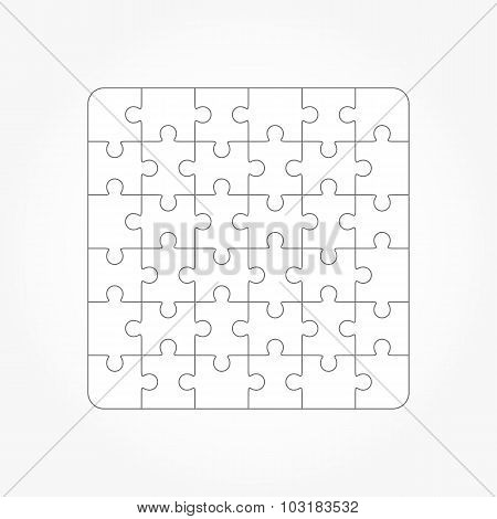 Jigsaw Puzzle Blank Templates, 36 Pieces
