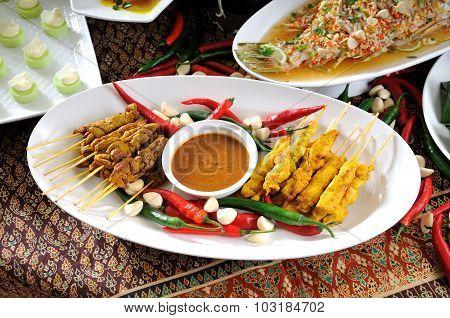 Thai cuisine,Chicken Satay,Beef Satay.