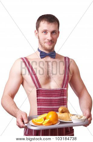 Attractive Man In An Apron With Breakfast